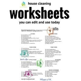 Worksheets - Savvy Cleaner, My Cleaning Connection