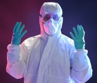 A Smokers Tale, Man in Hazmat Suit
