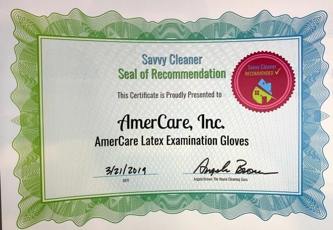 AmerCare Latex Examination Gloves, Savvy Cleaner Recommended-min