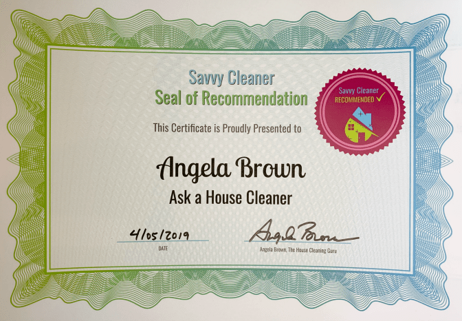 Angela Brown, Ask a House Cleaner, Savvy Cleaner Recommended
