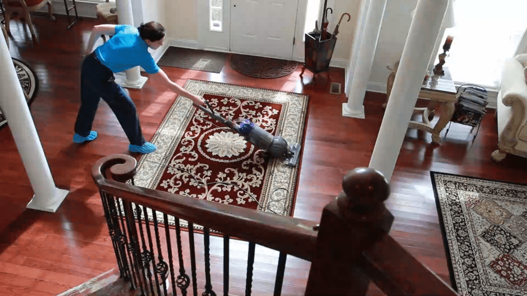 Angela Brown Vacuuming with a Dyson Vacuum