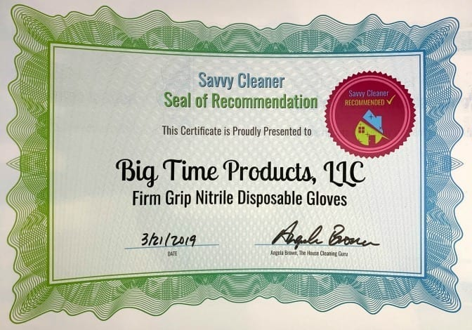 Big Time Products firm Grip Nitrile Disposable Gloves, Savvy Cleaner Recommended