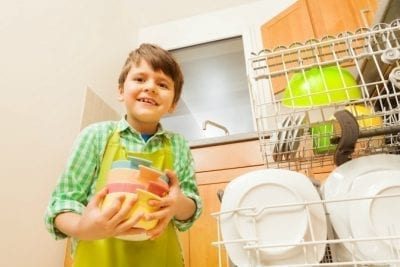 Can Young Kids Have Chores, Child Loading Dishwasher