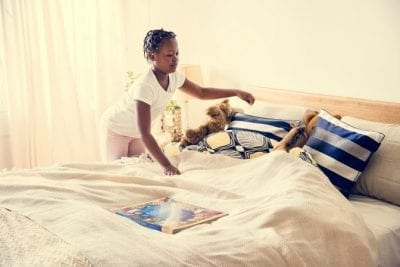 Can Young Kids Have Chores, Child Making Her Bed