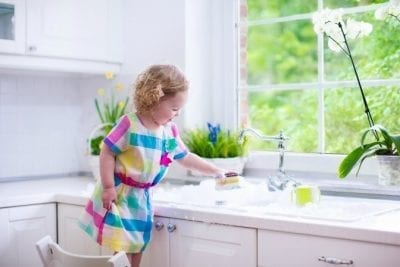 Can Young Kids Have Chores, Little Girl Doing Dishes