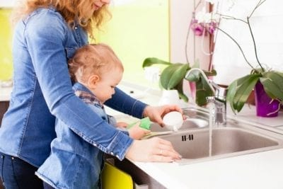 Can Young Kids Have Chores, Mother and Little Girl Doing Dishes