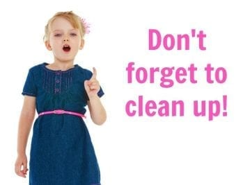 Can Young Kids Have Chores, Small Girl Saying Don't Forget to Clean Up