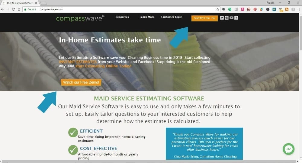 Compass Wave Homepage with Arrows point at free demo