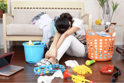 End Cleaning Procrastination, Sad Woman Can't Clean Messy House