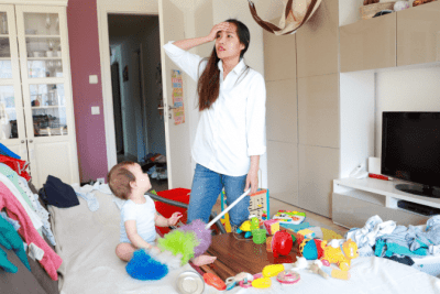 End Cleaning Procrastination, Tired Woman and Baby in Messy House