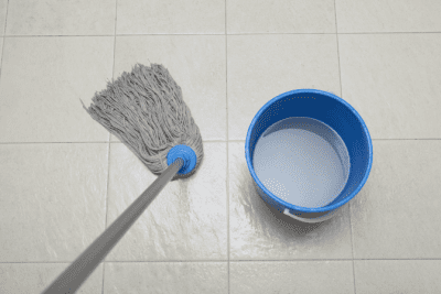 Favorite Mops for Cleaning Homes, Dirty Mop Water in Bucket and Mop