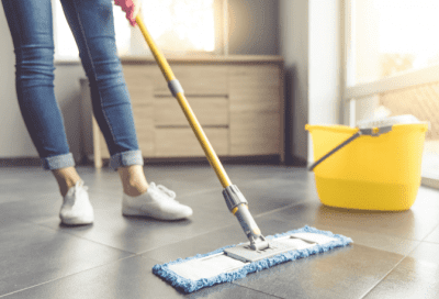 Favorite Mops for Cleaning Homes, Woman with Flat Mop