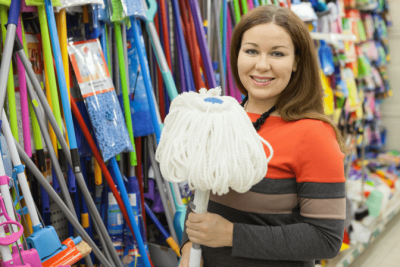 Favorite Mops for Cleaning Homes, Woman with Mop at Store
