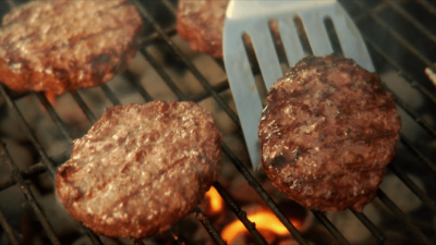Greased Lightning Cleaner and Degreaser - Barbecue Grill with Hamburgers