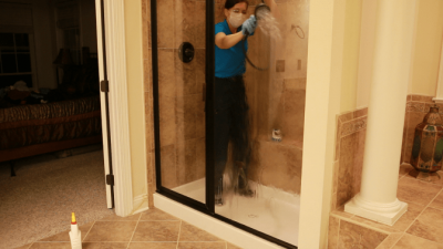 Greased Lightning Cleaner and Degreaser - Spraying shower down