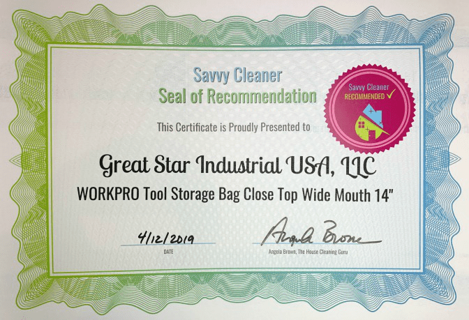 Great Start Industrial USA, INC, WORKPRO Tool Storage Bag Close Top Wide Mouth 14, Savvy Cleaner Recommended, Cleaning Caddies