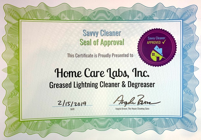 Homecare Labs, Inc. Greased Lightning, Savvy Cleaner Approved