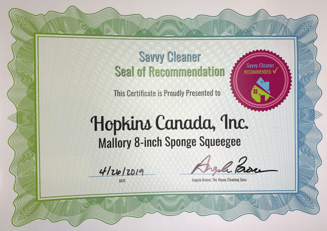 Hopkins Canada Inc, Mallory Sponge Squeegee, Savvy Cleaner Recommended