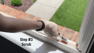 How to Clean Crevices and Sliding Door Tracks, Step 3 Scrub