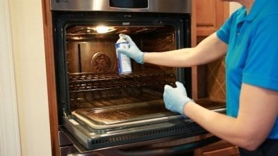 How to Clean an Oven Fast, Easy Off, Spray 9-12 Inches from oven wall