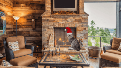 How to Create Your Own Images and Ads, Holiday Cat By Fireplace
