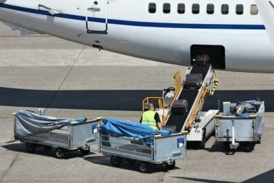 Loading an airplane
