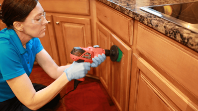 Murphy Oil Soap Wood Cleaner, Angela Brown Using Drill Brush on Kitchen Cabinets2