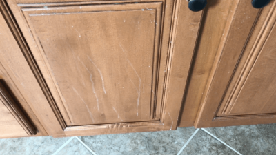 Murphy Oil Soap Wood Cleaner, Splatter on Cabinet