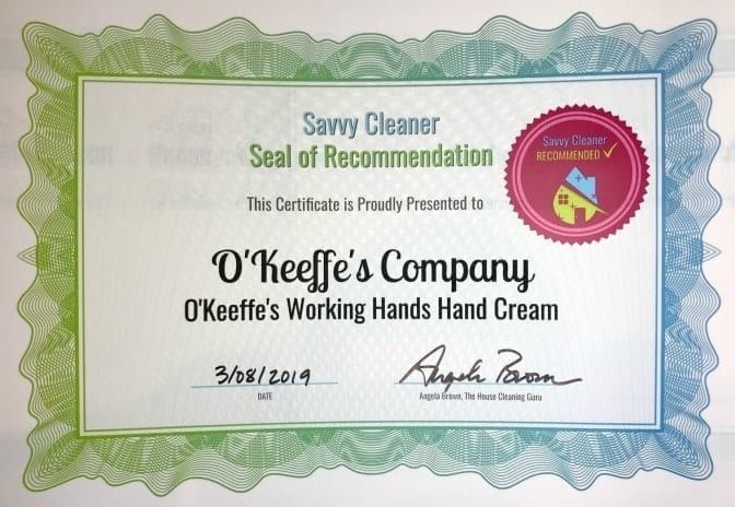 O'Keeffe's Working Hands, Angela Brown's Top 10 Repair Creams, Savvy Cleaner Recommended