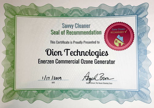 Oion Technologies, Enerzen Commercial Ozone Generator, Savvy Cleaner Recommended