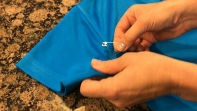 OxiClean Product Review - Pinning Uniform Shirts to Mark Stains