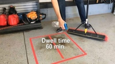 OxiClean Product Review - Spraying Grease on Garage floor with OxiClean