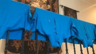 OxiClean Product Review - Uniforms Drying
