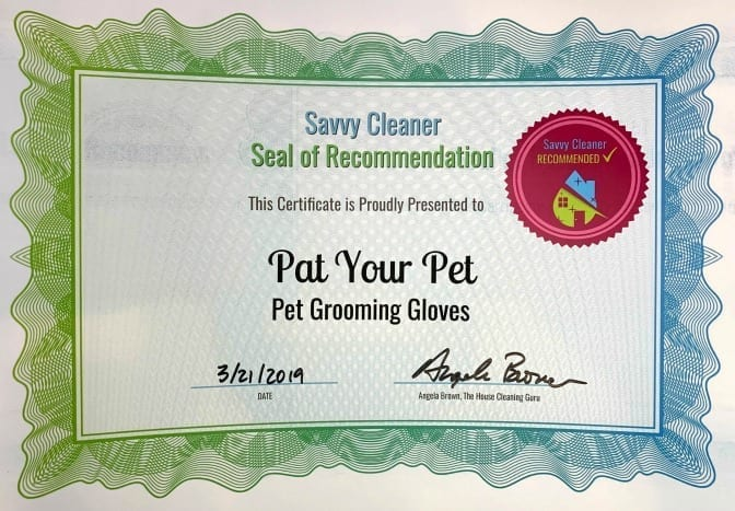 Pat Your Pet Pet Grooming Gloves, Savvy Cleaner Recommended