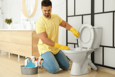 Poop Catcher - Hinlo Bowl, Unhappy Man Cleaning Toilet