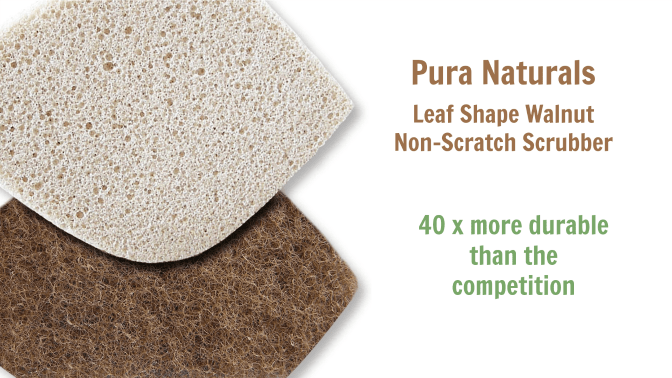 Pura Naturals Leaf Shape Walnut Non-Scratch Scrubber competition, Angela Brown's Top 10 Sponges