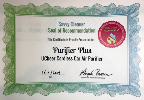 Purifier Plus, UCheer Cordless Car Air Purifier, Savvy Cleaner Recommended