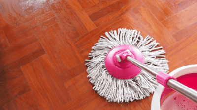 Spin Mop vs. a Steam Mop for Hardwood Floors, Mop and Bucket on Wood Floor