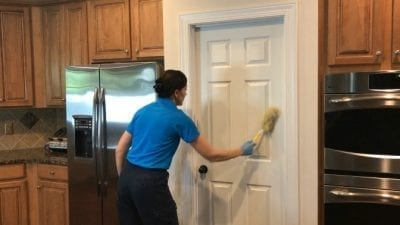 Swiffer Duster 360 Product Review Dusting six panel door