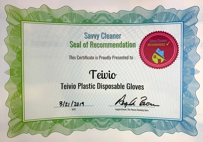 Teivio Plastc Disposable Gloves, Savvy Cleaner Recommended