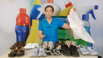 Throwing Out Half My Shoes, Angela Brown Holding Trash Bag
