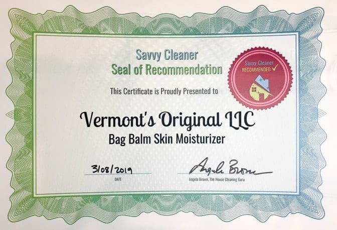 Vermont's Original Bag Balm, Angela Brown's Top 10 Repair Creams, Savvy Cleaner Recommended