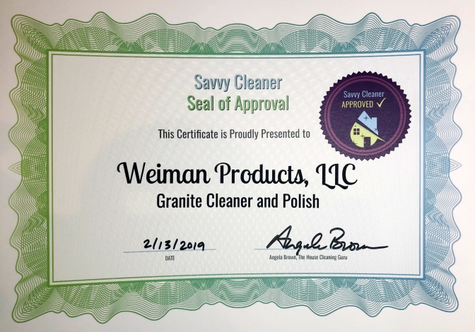Weiman Products, Weiman Granite Cleaner and Polish, Savvy Cleaner Approved