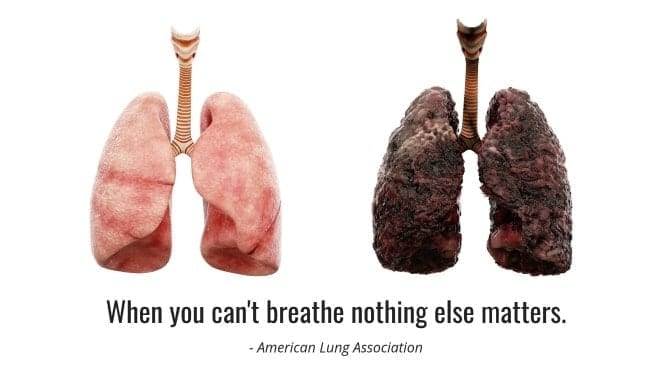 When you can't breathe, nothing else matters - healthy and unhealthy lungs