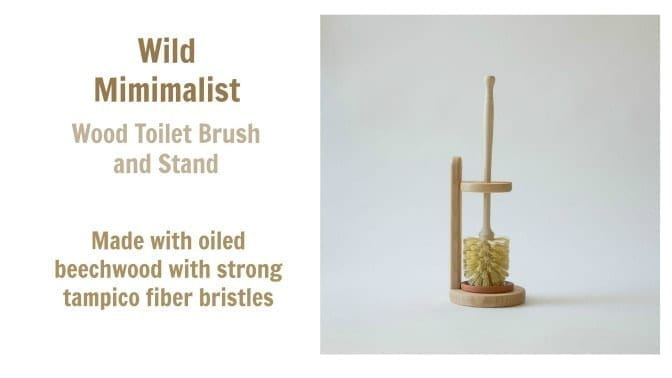 Wild Minimalist Wood Toilet Brush and Stand